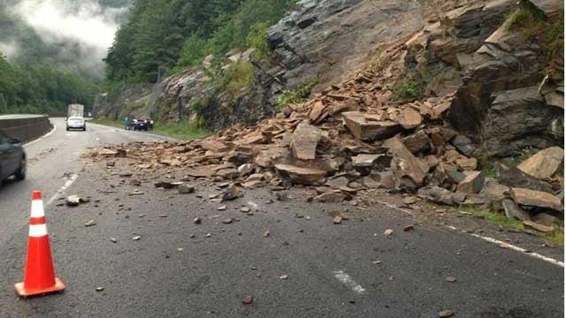 Landslide on I-40 west. (Source: NC DOT)