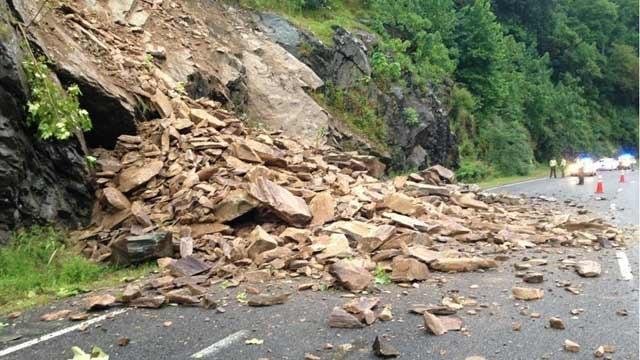 Landslide on I-40 west. (Source: NCDOT)