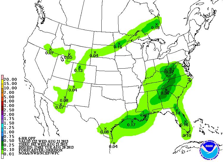 HPC rain forecast for tomorrow morning