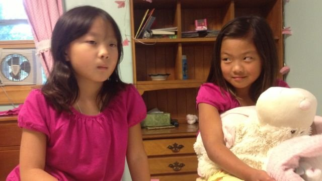 Ella (L) and Anna at play together in Cullowhee. (Aug. 18, 2013/FOX Carolina)