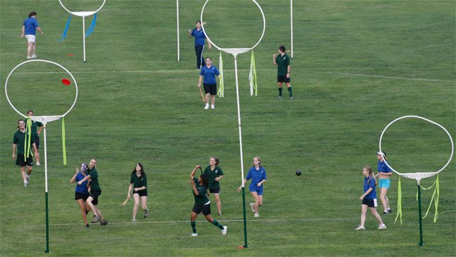 North Georgia College and State University students participate in a game of quidditch, which in the Harry Potter series is normally played with flying broom sticks, Dahlonega, GA. (File/Associated Press)