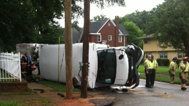 The overturned Housing Authority bus. (Aug. 21, 2013/Spartanburg Public Safety Dept.)