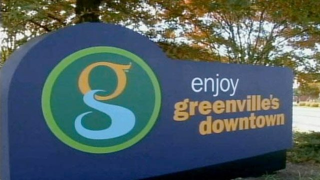 A sign welcoming people to downtown Greenville. (File/FOX Carolina)