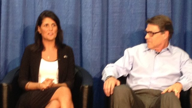 Gov. Nikki Haley and Rick Perry at the event on Monday (8/26/2013 FOX Carolina)