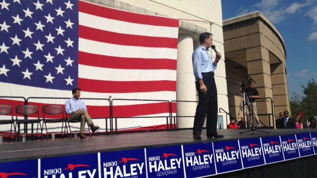 Scott Walker speaking at the rally. (8/26/2013 FOX Carolina)