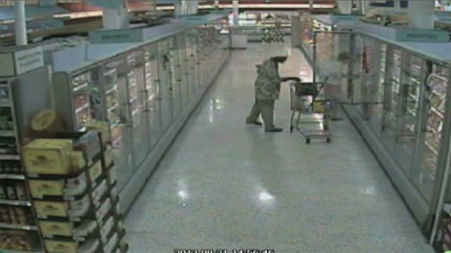 Surveillance footage of the first theft. (Source: Spartanburg Public Safety)