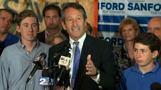 Former South Carolina Gov. Mark Sanford thanks supporters after winning the 1st District Congressional Race. (May 7, 2013/Source: CNN)
