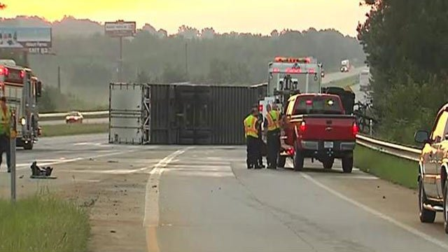 The overturned truck blocking part of I-85 at MM 75. (Sept. 5, 2013/FOX Carolina)