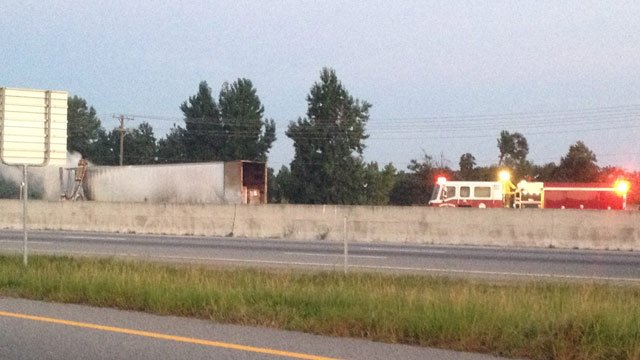Smoke billows from the tractor-trailer along southbound I-85 near mile marker 78. (Sept. 6, 2013/FOX Carolina)