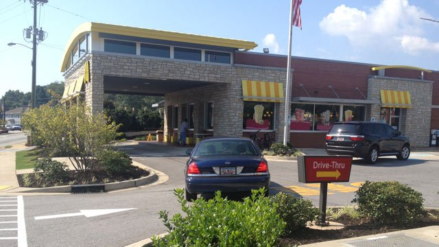 Greenville police blocked off the entrance to the McDonalds on Rutherford St. (Sept. 8, 2013/FOX Carolina)