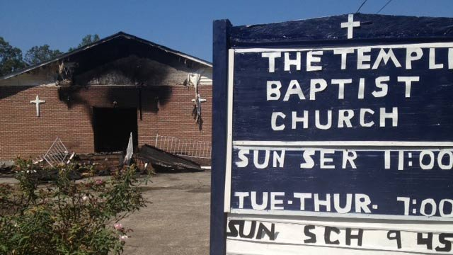 The fire-damaged church on Everett Street in Spartanburg. (Sept. 8, 2013/FOX Carolina)