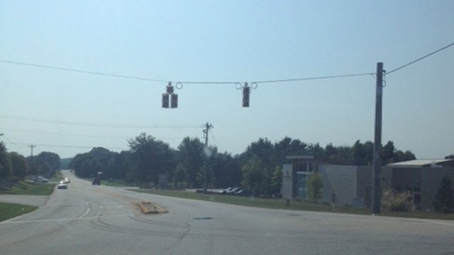 Lights out at Scuffletown and Adams Mill Road in Five Forks. (Sept. 9, 2013/FOX Carolina)