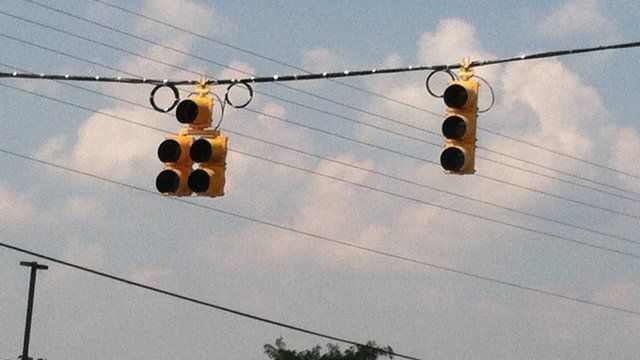 Traffic lights out at an intersection. (Sept. 9, 2013/FOX Carolina)