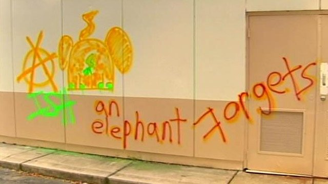 Some of the graffiti found in Spartanburg. (Sept. 12, 2013/FOX Carolina)