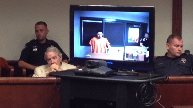 Andrew Glasier appeared in court via a camera from the jail for his bond hearing Friday. (Sept. 13, 2013/FOX Carolina)