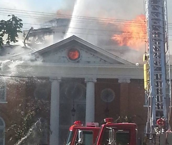 Firefighters battle the fire Walhalla Presbyterian Church (courtesy: Courtney Smith)