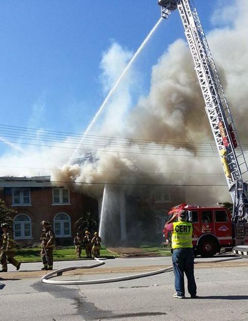 Firefighters battle the fire Walhalla Presbyterian Church (courtesy: Katie Alexander)