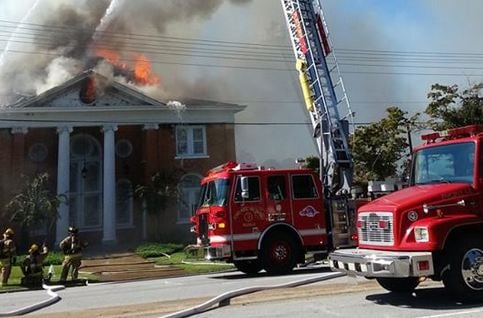 Firefighters battle the fire Walhalla Presbyterian Church (courtesy: Katie Alexander)