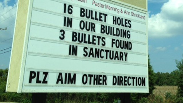 The sign responding to shots fired at the church. (Sept. 16, 2013/FOX Carolina)