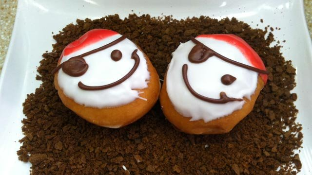 Pirate-themed doughnuts sold at Krispy Kreme on Thursday. (Sept. 19, 2013/FOX Carolina)