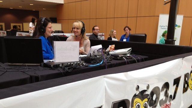 FOX Carolina's Diana Watson and B93.7's Heidi Aiken at the radiothon. (FOX Carolina/Sept. 19, 2013)