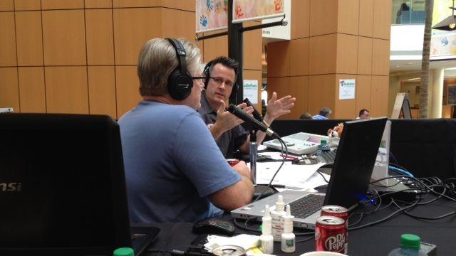 B93.7's Hawk and Tom at the radiothon. (FOX Carolina/September 20, 2013)