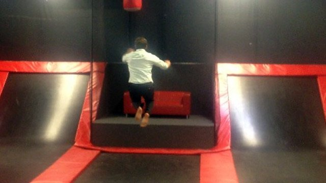 FOX Carolina's Andrew Reeser tests out one of Gravitopia's trampolines. (Sept. 19, 2013/FOX Carolina)