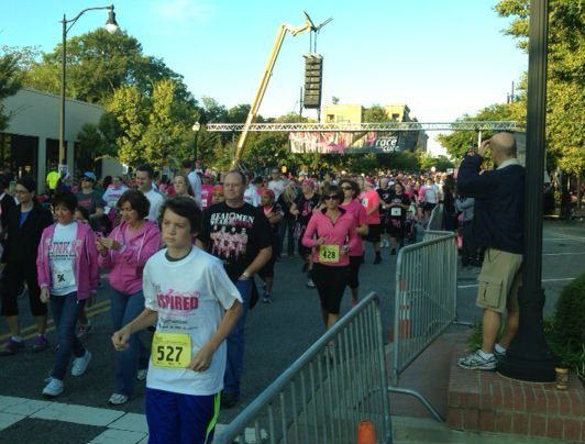 Participants run/walk in the The Susan G. Komen SC Mountains to Midlands Affiliate Race for the Cure