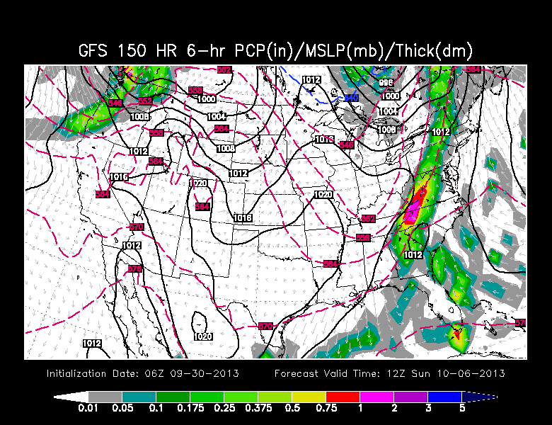 Sunday morning rain on GFS model