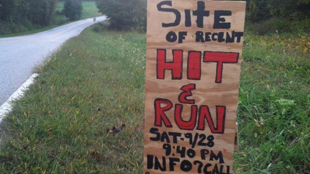 One of the signs family and friends put up near where Garcia was hit. (Oct. 1, 2013/FOX Carolina)