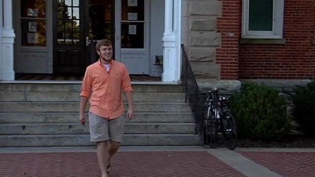 Roy Costner walks on campus at Clemson University. (Oct. 1, 2013/FOX Carolina)
