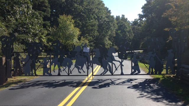 The gates shut at Cowpens National Battlefield. (Oct. 1, 2013/FOX Carolina)