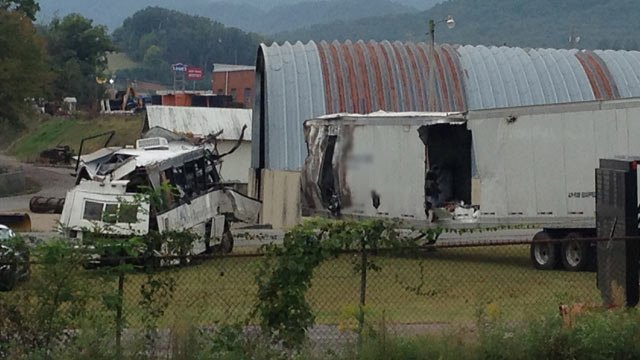 The bus and truck from the I-40 crash. (Oct. 3, 2013/FOX Carolina)