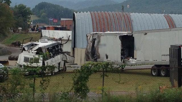The bus and truck from the I-40 crash. (Oct. 3, 2013/FOX Carolina)