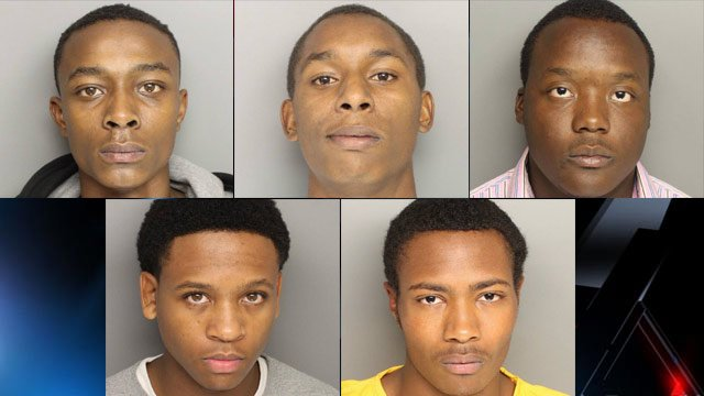 From top-left to bottom-right: Jaylan Fair, Frederick Irby, Dontavious Jenkins, Rodney Jones, Deandre Norris. (Source: Greenville Police Dept.)