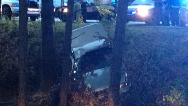 The car crashed into the woods. (Oct. 8, 2013/FOX Carolina)