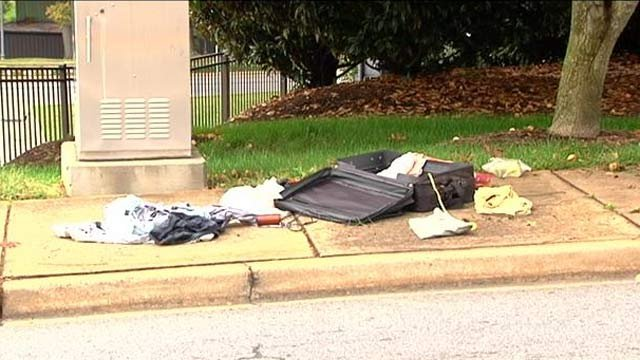 The suitcase police say was deemed safe after the bomb squad searched through it. (Oct. 7, 2013/FOX Carolina)