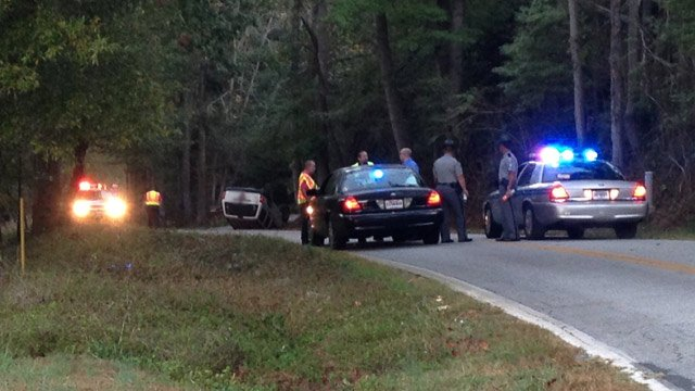 Troopers have Greenpond Road blocked near the scene of a fatal wreck. (Oct. 11, 2013/FOX Carolina)