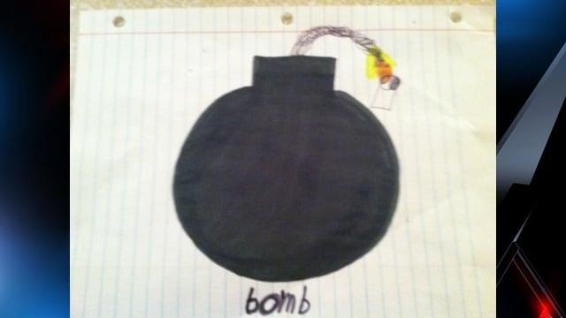 A photo of the bomb Parham's son drew. (Oct. 14, 2013/FOX Carolina & Amy Parham)