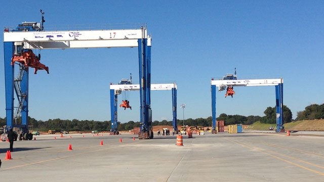 From a distance, Gov. Haley tours the SC Inland Port. (Oct. 23, 2013/FOX Carolina)