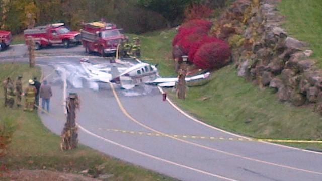 The plane crashed along the roadway. (Oct. 23, 2013/FOX Carolina iWitness)
