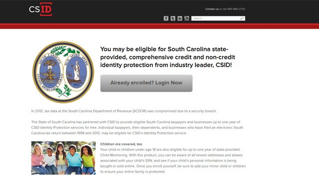 A screen grab of the new credit monitoring website. (Oct. 24, 2013/FOX Carolina & CSID)