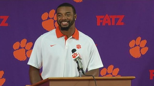 Tajh Boyd talks about the Maryland game during Tuesday's press conference. (Oct. 22, 2013/FOX Carolina)