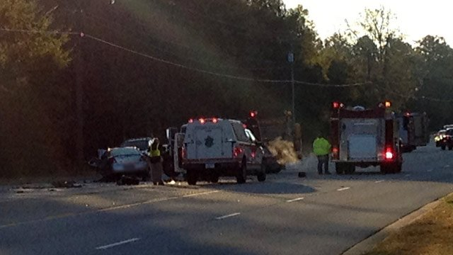 Most of the roadway is blocked as crews cleanup the wreck. (Oct. 25, 2013/FOX Carolina)