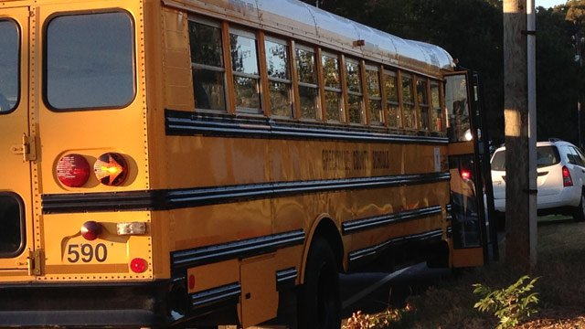 The school bus involved in the wreck. (Oct. 25, 2013/FOX Carolina)