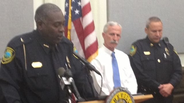 Asheville Police Chief William Anderson holds a news conference. (FOX Carolina)