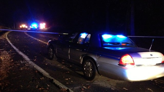 Troopers have Broadway Lake Road blocked at the scene of the wreck. (Nov. 1, 2013/FOX Carolina)