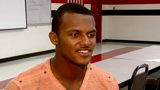Clemson Univ. recruit Deshaun Watson talks with FOX Carolina's Aaron Cheslock. (File/FOX Carolina)