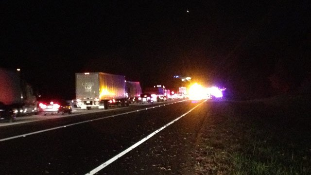 The accident on I85 south caused delays on Thursday night. (Nov. 7, 2013/FOX Carolina)