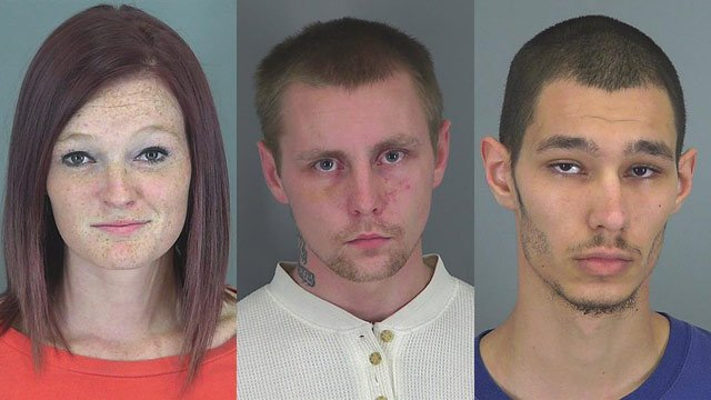 Kirstie Woodrum, 18; Justin Rawls, 21; and Michael Taylor, 19. (Source: Spartanburg Co. Detention Center)